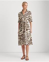 Lauren by Ralph Lauren Short Sleeve Animal Print Dress - Multicolor