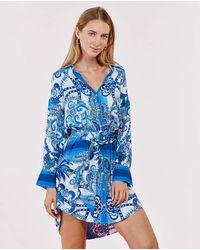 Rene' Derhy Blusa De Mujer Cuello Solapa - Azul