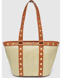 El Corte Inglés Small Tan And Brown Synthetic Raffia Shopper Bag With Gold Studs