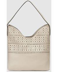 Pepe Moll Beige Hobo Bag With Cutwork - Natural