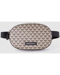 Emporio Armani Small Beige Bumbag With Logo Print - Natural