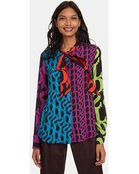 Desigual Camisa De Mujer De Manga Larga Con Estampado Geométrico - Multicolor