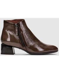 Hispanitas Taupe Patent Leather Ankle Boots - Brown