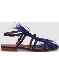 Pedro Miralles - Blue Suede Flat Sandals With Feathers - Lyst
