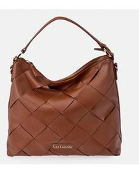 Guy Laroche Camel-coloured Leather Hobo Bag With Criss-cross Strips On The Front - Brown