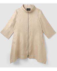 Emporio Armani Wo Beige Linen Raincoat - Natural