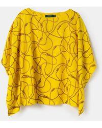 Denim & Supply Ralph Lauren Plus Size Short Sleeve Maxi Print Blouse - Yellow