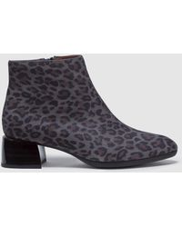 Hispanitas - Grey Leopard Print Leather Ankle Boots - Lyst