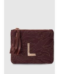 El Corte Inglés Maroon Fabric Purse With Embroidered L - Multicolour