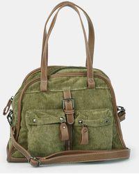 Caminatta - Khaki Corduroy Shoulder Bag With Zip - Lyst