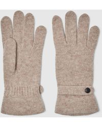El Corte Inglés Light Brown Knitted Gloves With Button