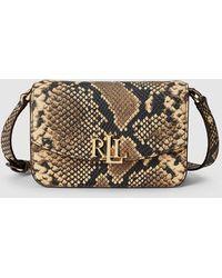 Lauren by Ralph Lauren Beige Embossed Leather Mini Convertible Crossbody Bag/belt Bag - Natural
