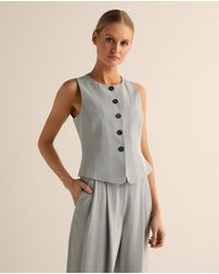Emporio Armani Wo Icon Gilet With Front Zip - Gray