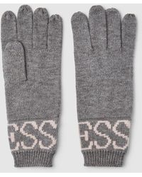Guess Grey Wool Gloves With Brand Name - Gray