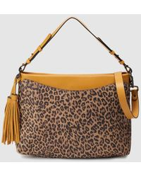 Robert Pietri Camel-coloured Leather Hobo Bag With A Leopard Print And Yellow Details - Natural