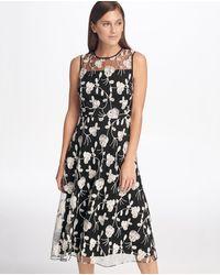 DKNY Vestido Sin Mangas Y Flores Bordadas - Negro