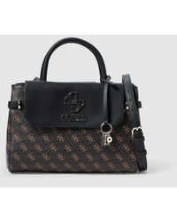 Guess Brown Handbag With Logo Print - Black