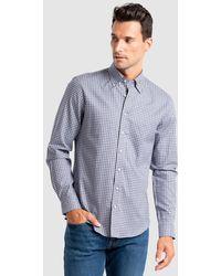Calvin Klein Camisa De Hombre Regular De Cuadros Azul