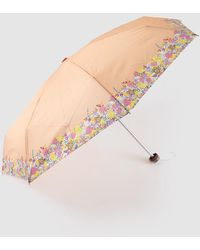 Caminatta Salmon Fold-up Umbrella With A Floral Print Edge - Orange