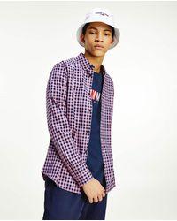 Tommy Hilfiger Camisa De Hombre En Algodón Orgánico Slim De Cuadros Rosa