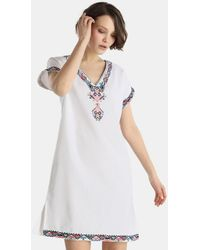 El Corte Inglés - White Linen Kaftan With Embroidery - Lyst