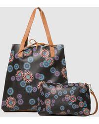 Desigual Mandri Neiva Reversible Shopper Bag In Black And Nude