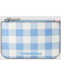 COACH Lzip Small Wristlet in Gingham Saffiano Leather in