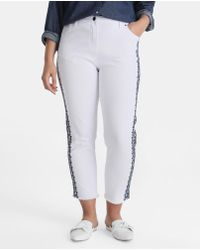 Couchel - Plus Size White Jeans With Embroidery - Lyst