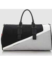 Guess Zip-up Travel Bag In Black, Gray And White