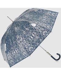 Ezpeleta Paraguas Transparente Automático Con Estampado Serpiente En Azul Marino