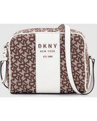 DKNY - Bandolera Mini De Mujer Con Estampado De Logos En Marrón Y Blanco - Lyst