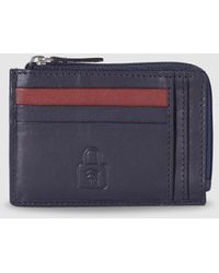 El Corte Inglés Navy Blue Leather Card Holder With Zipped Compartment