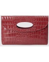 El Corte Inglés Burgundy Leather Evening Clutch With Mock Croc Embossing - Red