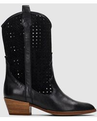 Hispanitas Black Leather And Suede Boots