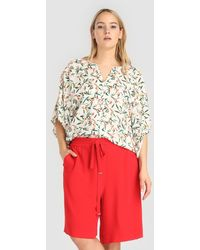 Couchel Plus Size Loose-fitting Bermuda Shorts With Stretch Waist - Red
