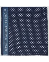 Tommy Hilfiger Navy Blue Foulard With Polka Dots And Glitter