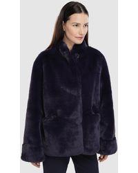 Emporio Armani Wo Short Purple Coat With Fur