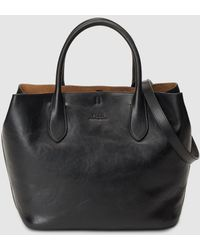 Polo Ralph Lauren Black Leather Tote Bag With Long Detachable Strap