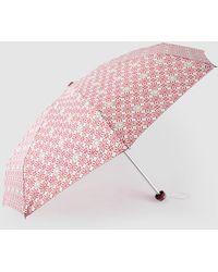 Caminatta Mini Fold-up Umbrella With Red Geometric Print