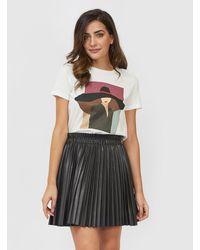 Vero Moda Waxed Accordion Pleat Skirt - Black