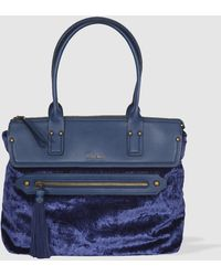 Robert Pietri - Blue Velvet Shopper Bag Combined With A Smooth Material - Lyst