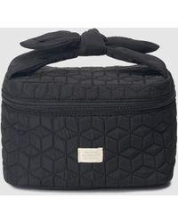 El Corte Inglés Black Quilted Toiletry Bag With Zip