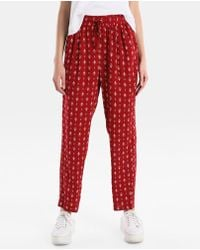 Green Coast - Red Printed Trousers With An Elastic Waistband - Lyst