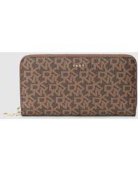 DKNY Large Brown Printed Wallet With Zip