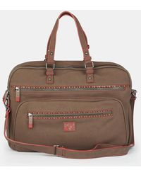 Caminatta Brown Briefcase With Outer Pockets