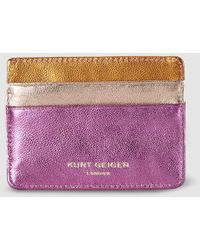 Kurt Geiger Fuchsia Leather Card Holder With Contrasting Details - Multicolor