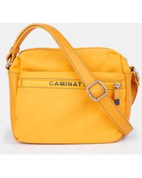 Caminatta Wo Small Mustard Nylon Crossbody Bag With Topstitching Detail - Yellow