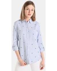 Esprit - Striped Shirt With Embroidery - Lyst