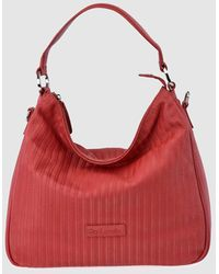 Guy Laroche Red Plaited Leather Hobo Bag With Detachable Strap