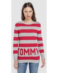 d6b00424d5 Lyst - Tommy Hilfiger Blue White Xl Crewneck Striped Sweater Knit ...